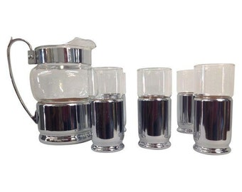 Vintage Pitcher and Six Glasses