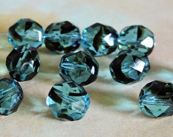 12 Teal w/Black Whisp 7mm Faceted  Round Czech Glass Beads