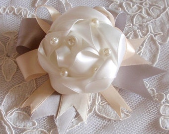 Handmade Ribbon Flower With Bow Ribbon Rose With Pearl MY-433 Ready To Ship