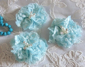 3 Lace Flowers With Rhinestone Pearl (1-3/4 inches)  MY-441-01 Ready To Ship