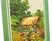 """Beautiful Vintage Embossed Colorful Birthday Card for Mom Includes Charming Country Cottage and Gardens Titled """"A Garden Paradise"""""""