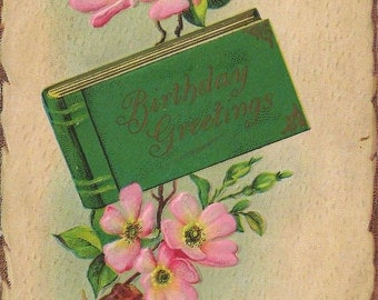 1900's Antique Postcard Offering Birthday Greetings With Cheerful Cherry Blossoms and Deeply Embossed Imprint