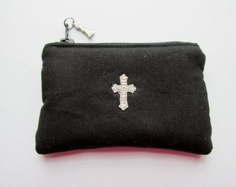 Boys Black Rosary Pouch, First Communion, Silver Cross, Catholic
