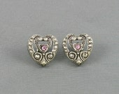 1994 - Vintage AVON 'Elegant Era' Pierced Earrings. Heart Earrings. Faux Marcasite Earrings. Rhinestone Earrings. Vintage Avon Jewelry
