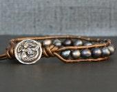 wrap bracelet- peacock black pearl single wrap with mermaid button - pick a leather color - nautical boho gypsy bohemian beach