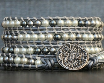 pearl wrap bracelet - mixed grey silver white pearls on silver leather