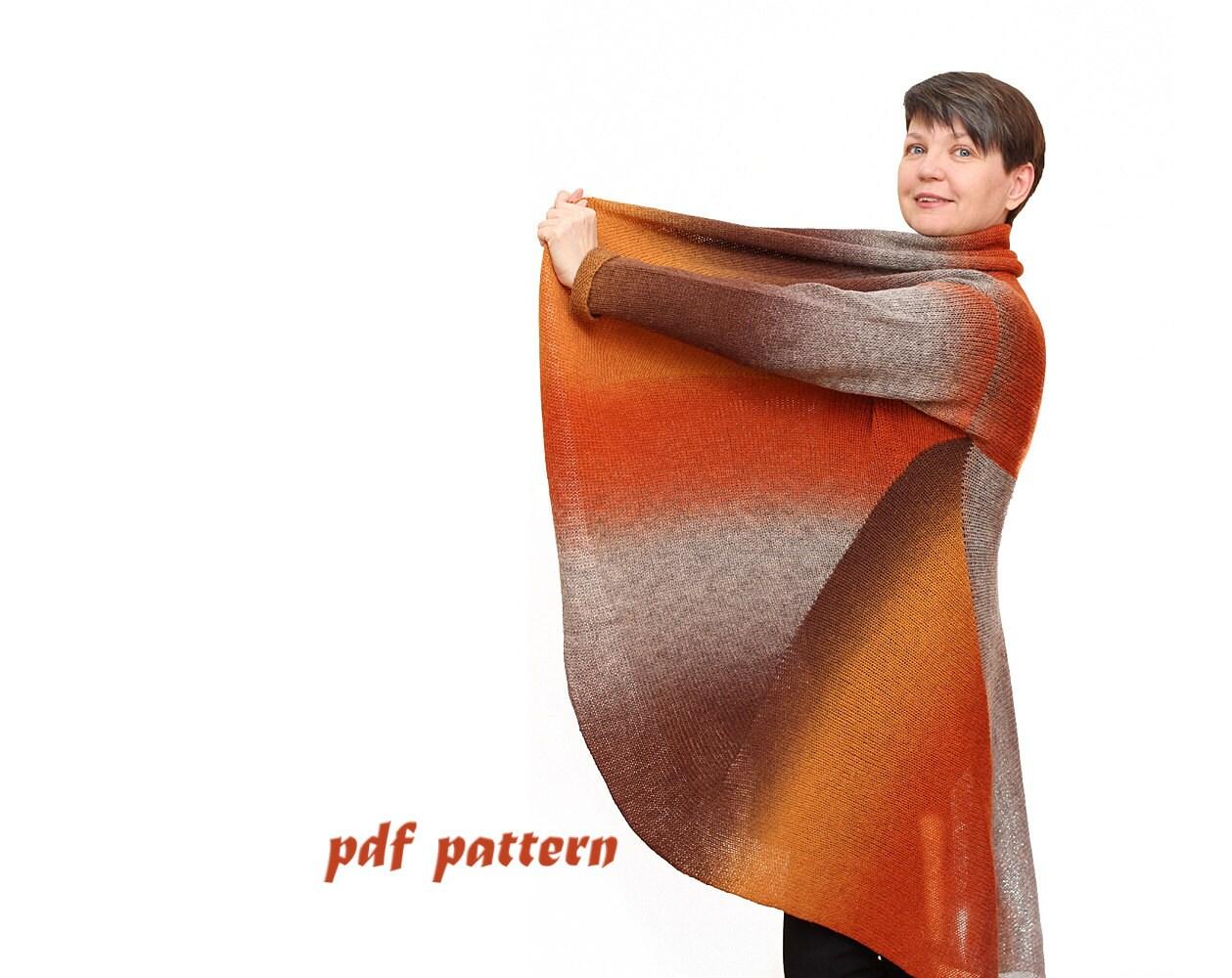 Wool Cape Knitting Pattern : Plus size coat Knitting pattern Plus size cape coat Wool