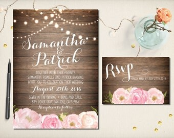 Wedding Invitation, Rustic Wood Spring Summer Floral Invitation, Watercolor Flowers Invitation, DIY Printable, Cheap Invitation (CW19)