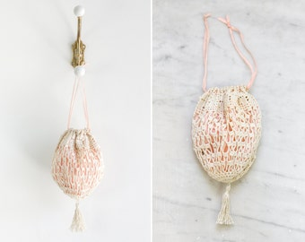 antique edwardian reticule | 1910s pink crochet purse | drawstring tassel purse