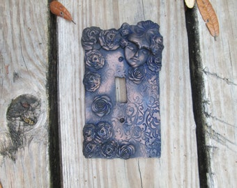 romantic, fairy Light switchplate cover, resin light switch cover, handmade, one of a kind, hand painted,