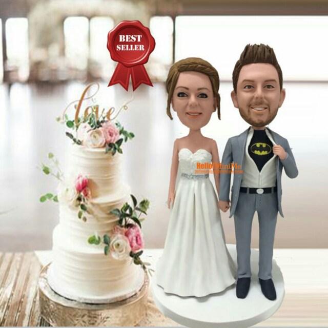 custom wedding cake topper bobble head by hellominime on etsy. Black Bedroom Furniture Sets. Home Design Ideas