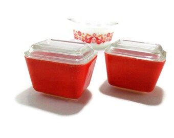Pyrex Red Orange Fridgies * Set of 2 Refrigerator Spacesaver Set #501
