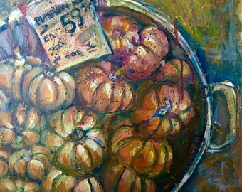 "ORIGINAL Painting in Acrylic - ""Them Punkins' No. 3"" - Impressionist Pumpkin Painting - 16"" x 24"" - Halloween - Jack Skellington"
