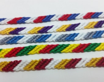 Minnesota sports teams inspired string friendship bracelets, striped friendship, string bracelet, Mn Wild, Mn Gophers, Mn Vikings, Mn Lynx