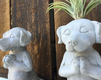 Meditating Dog Statue - Concrete Planter - Zen Animal - Garden Decor - Available with or without plant