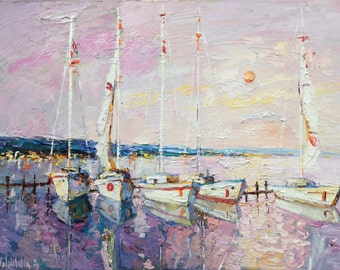 """Sailing boats at sunset Original oil painting Seascape art on canvas 23.6"""" x 31.5"""" Contemporary by Valiulina"""