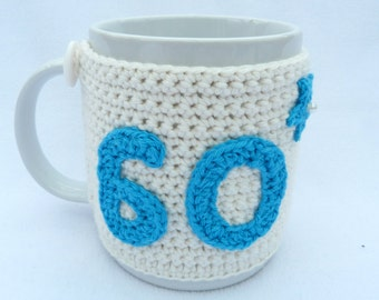 60th Birthday cream crochet mug cozy with turquoise applique numbers