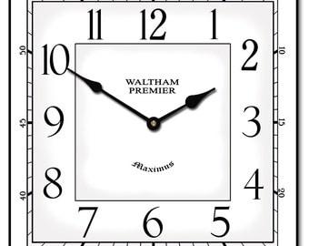Waltham White Square Wall Clock