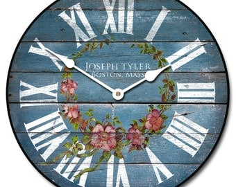 Barnwood Blue Floral Wall Clock