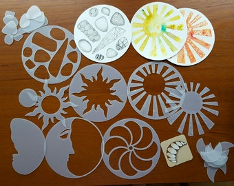 Zencils:  Around and Around  - set of 5 round stencils