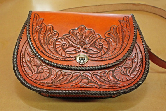 Purse, Leather, Fully LIned, Hand Carved, Hand Made