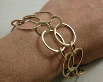 Brass double strand chain link bracelet