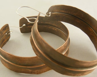 Big Copper hammered form folded hoop earrings