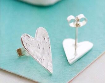Handmade Silver Earrings - Textured Heart - Large Heart Earrings - Silver Stud Earrings - Heart Shaped Jewellery