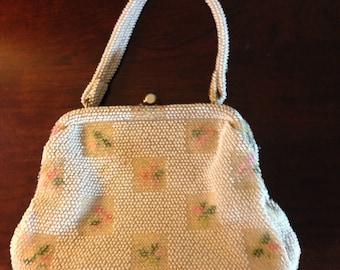 Vintage Beaded Like Floral Handbag/Purse/Pocketbook/White and Biege