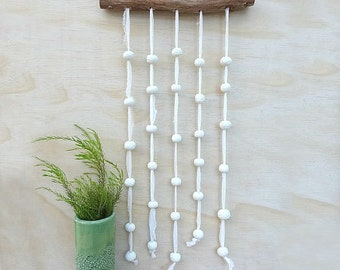 Ceramic wall hanging. Wall decore, neutral wall art. Porcelain beads on natural tree branch. Wall decoration