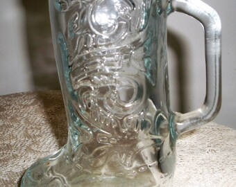 "Cowboy Boot Mug, Boot Beer Stein, Little cowboy's Milk Glass, Big Cowboy's Beer Mug, 6"" Clear Glass Western  Boot stein"