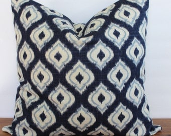 NEW- Decorator Pillow Cover - Navy - Light Blue - Off- White - Geometric