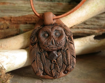 Owl Totem Pendant with Raw Almandine Garnet and Feathers, Animal Totem Necklace, Owl Spirit Animal, Boho hippie spiritual Jewelry, New Age