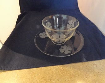 Glass Lucky Four Leaf Clover Plate and Bowl