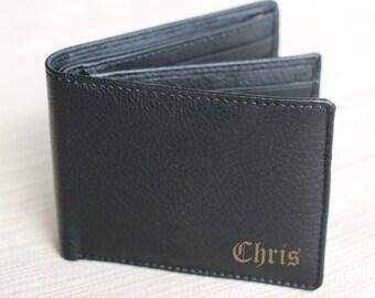 New Dad Gift, Personalized Wallet, Bi-Fold Men's Leather Laser Engraved Wallet, Groomsmen Gift, Monogram Wallet, Gift for Men, New Father