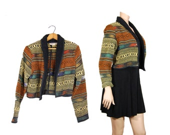 Medium Cropped Navajo Jacket // Women's Southwestern Boho Jacket // E56