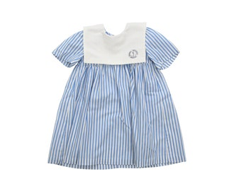 French vintage 70s blue and white striped nautical dress size 2 years Daniel Hechter
