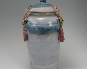 Ceramic Cremation Urn, Tie Down Lid, Teal Moon Glaze 145 cubic inch