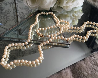 1950s Long Length Pearl Necklace