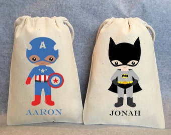 "16- Superhero party, Superhero Birthday, Superhero favors, Batman Party, Superman, Robin, Superhero Party Favor Bags, Superheroes, 5""x8"""