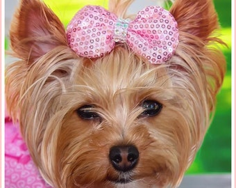 Pink bow Doggie bow, sequin puppy bow, dog accessories