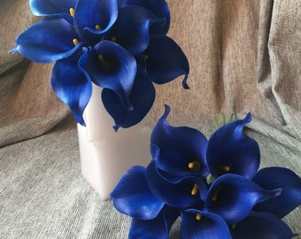 Royal Blue Calla Lily Bouquet, 10 stems Cobalt Flowers, Real Touch Calla Lilies, Latex Flowers For Wedding Bouquet Table Centerpieces