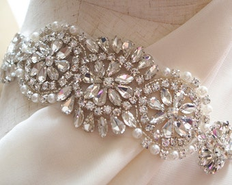 crystal applique, rhinestone Applique, bridal sash applique  ZP039