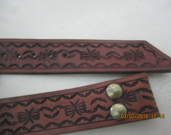 Awesome Hand Tooled Leather Belt Western Vintage
