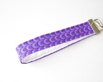 Wristlet Keychain-purple scallop shell print, key fob, preppy keychain