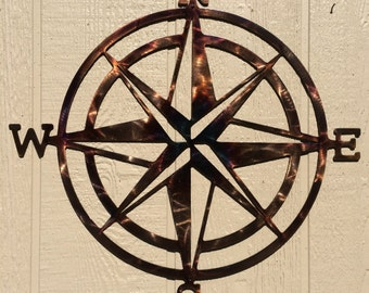 Compass Rose Nautical Metal Wall Art