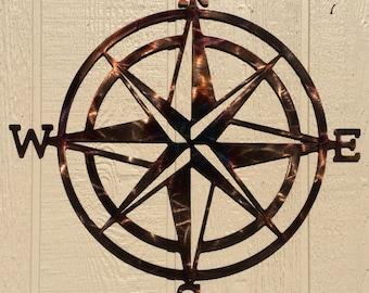 Compass Rose Nautical Metal Wall Art