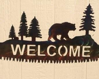 Bear on Crosscut Sawblade Metal Wall Art Welcome