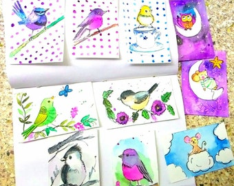 Thankyou card,cards,notes,Original ATC ACEO cards ,illustrations,birds,Nursery illustrations,art deco,Children's room decor