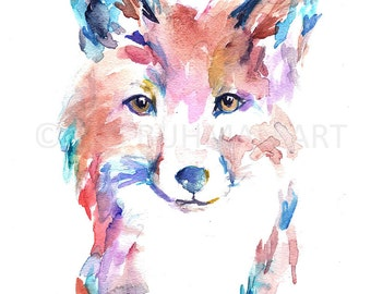 Fox Watercolor Print, Watercolor Painting of Fox, Print of Fox, Fox Painting, Fox Illustration, Baby Fox Art, Nursery Art, Woodland Art